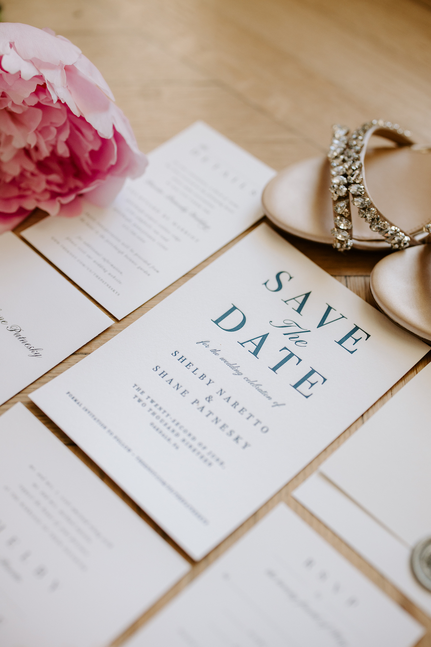 Classic save the dates: Elegant and Classic Garden Wedding planned by Exhale Events. See more at exhale-events.com!