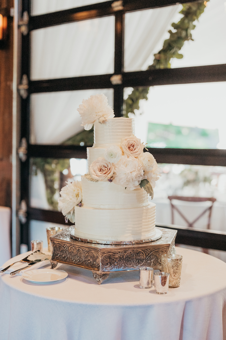 Clean and simple wedding cake: Elegant and Classic Garden Wedding planned by Exhale Events. See more at exhale-events.com!