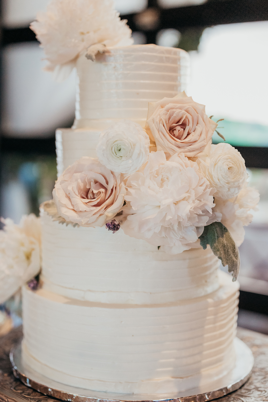 Beautiful wedding cake: Elegant and Classic Garden Wedding planned by Exhale Events. See more at exhale-events.com!