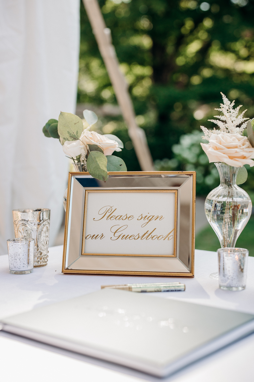 Simple and classic guest book signage: Elegant and Classic Garden Wedding planned by Exhale Events. See more at exhale-events.com!