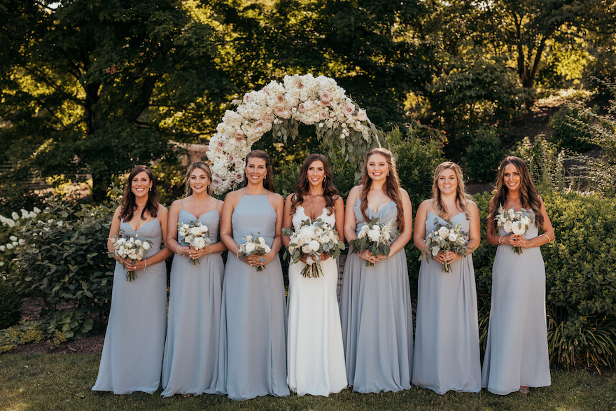 Dusty blue bridal party: Bridal party in dusty blue dresses: Elegant and Classic Garden Wedding planned by Exhale Events. See more at exhale-events.com!