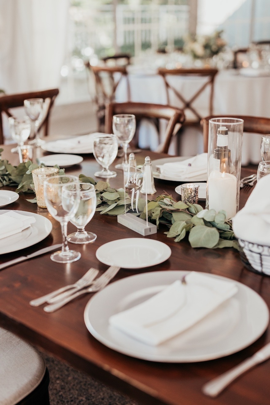 Classic place setting at outdoor wedding: Elegant and Classic Garden Wedding planned by Exhale Events. See more at exhale-events.com!