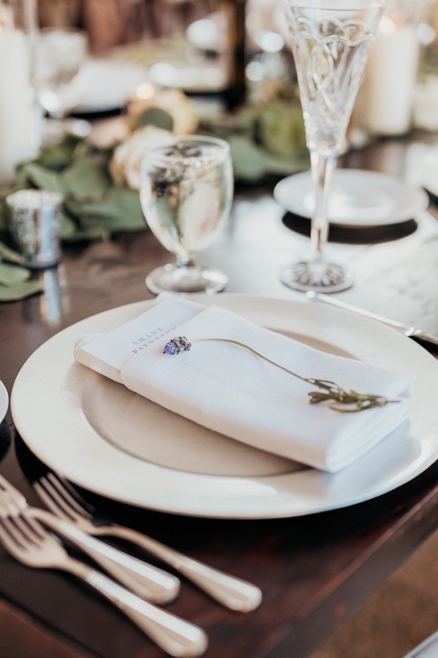 White place setting for garden wedding: Elegant and Classic Garden Wedding planned by Exhale Events. See more at exhale-events.com!