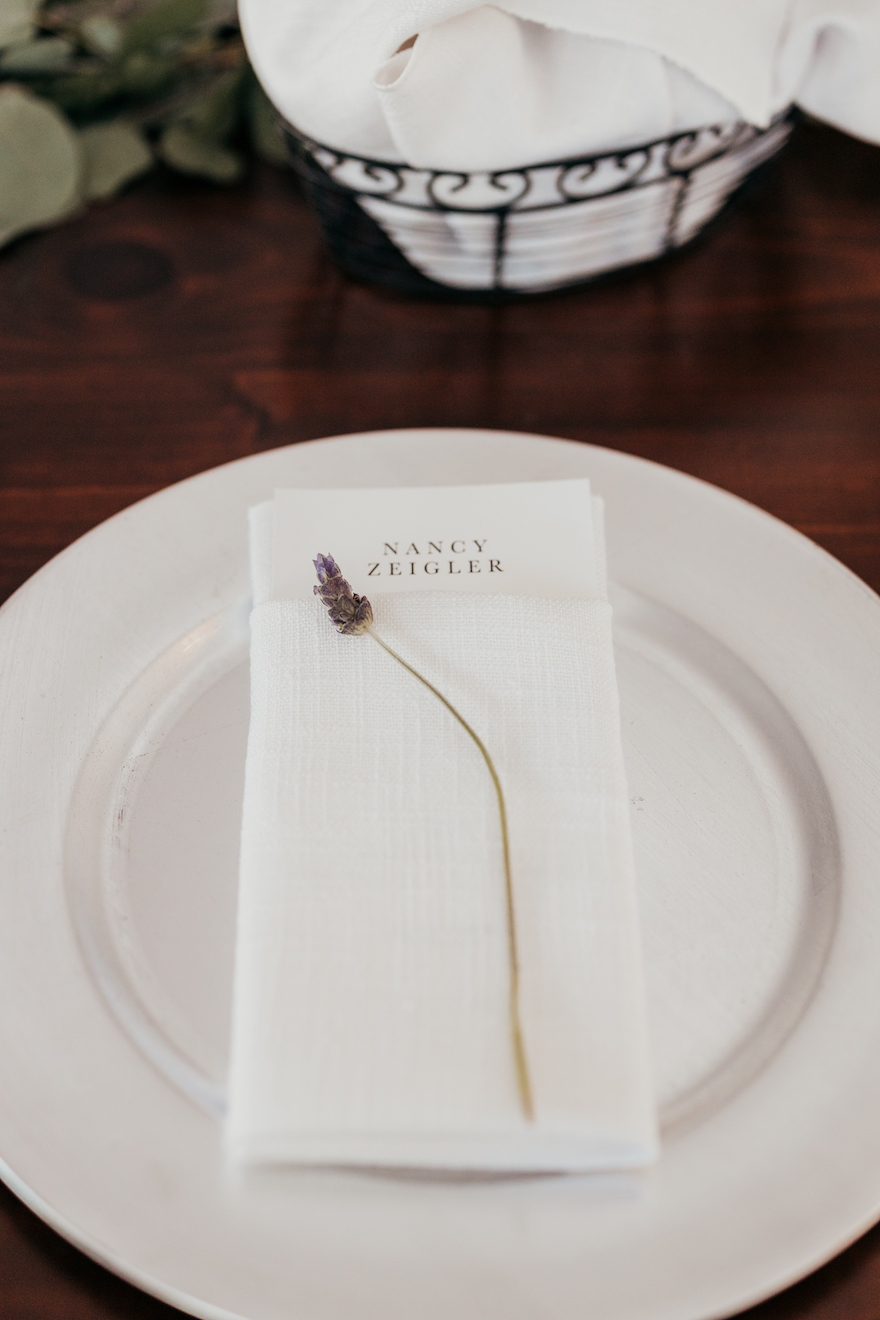 Simple place setting with lavender: Elegant and Classic Garden Wedding planned by Exhale Events. See more at exhale-events.com!