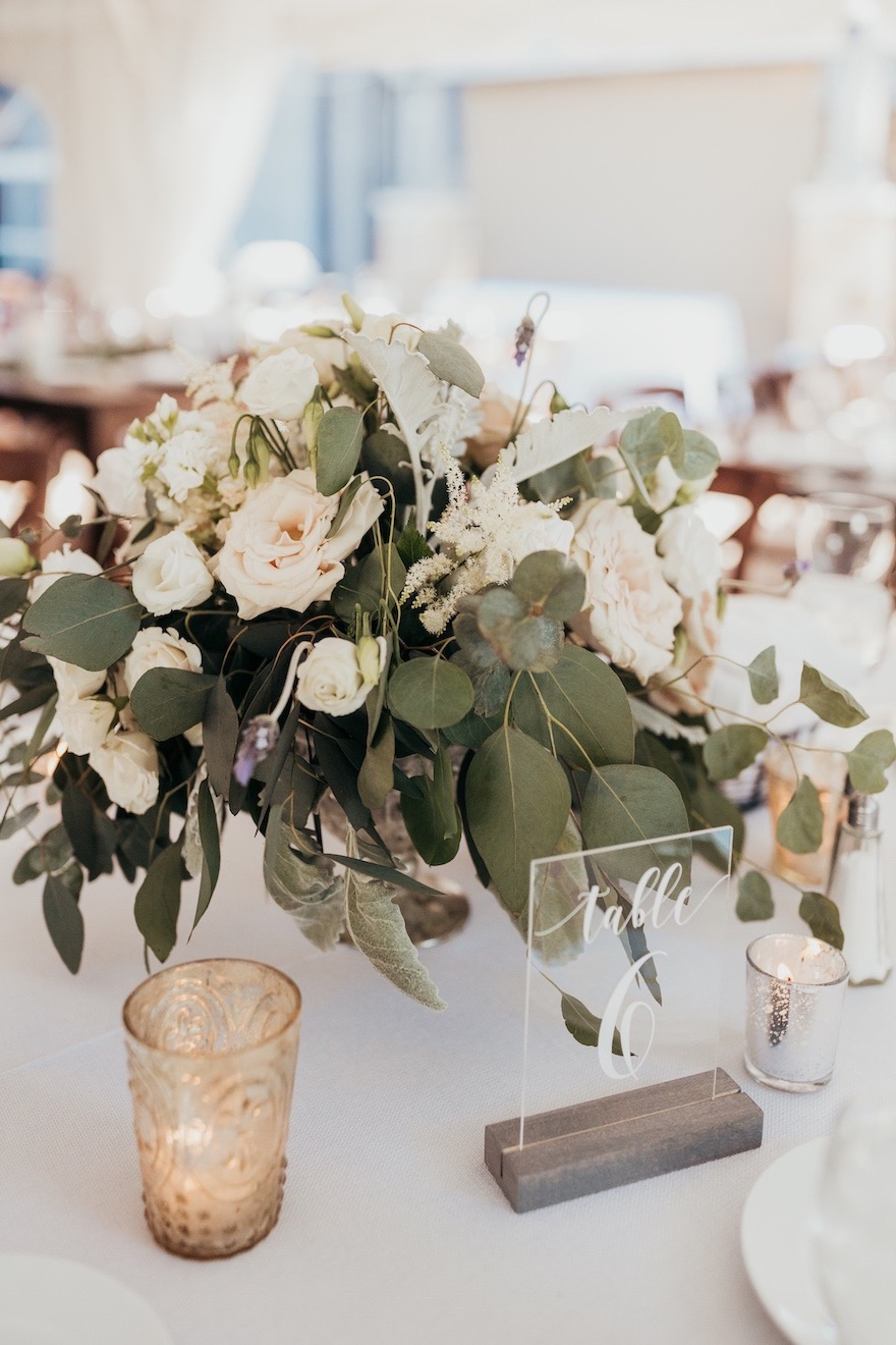 Dusty muted floral centerpieces for outdoor wedding: Elegant and Classic Garden Wedding planned by Exhale Events. See more at exhale-events.com!
