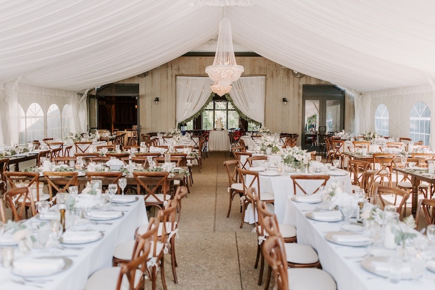 Romantic draped tent at garden wedding: Elegant and Classic Garden Wedding planned by Exhale Events. See more at exhale-events.com!