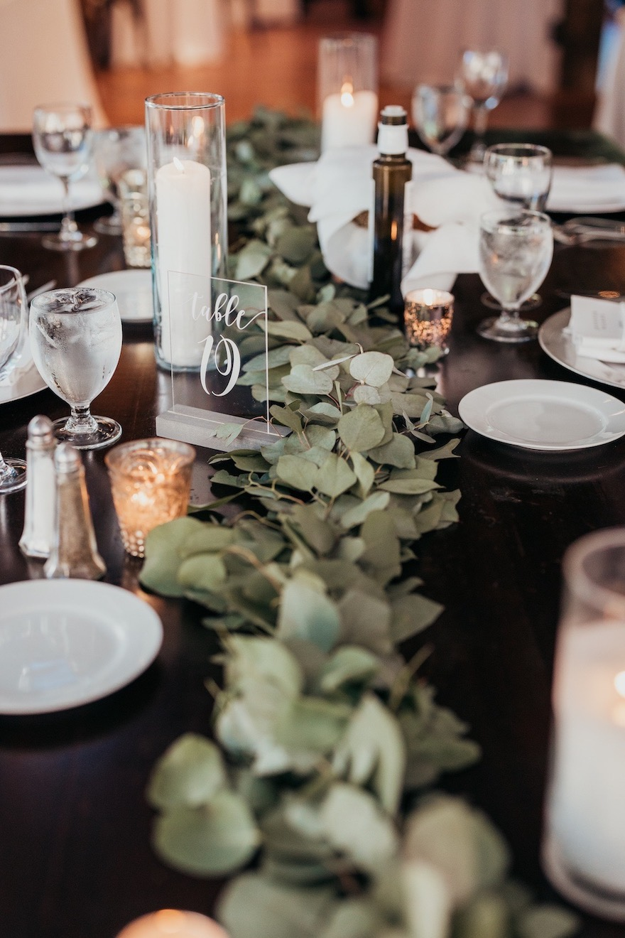 Green floral runners: Elegant and Classic Garden Wedding planned by Exhale Events. See more at exhale-events.com!