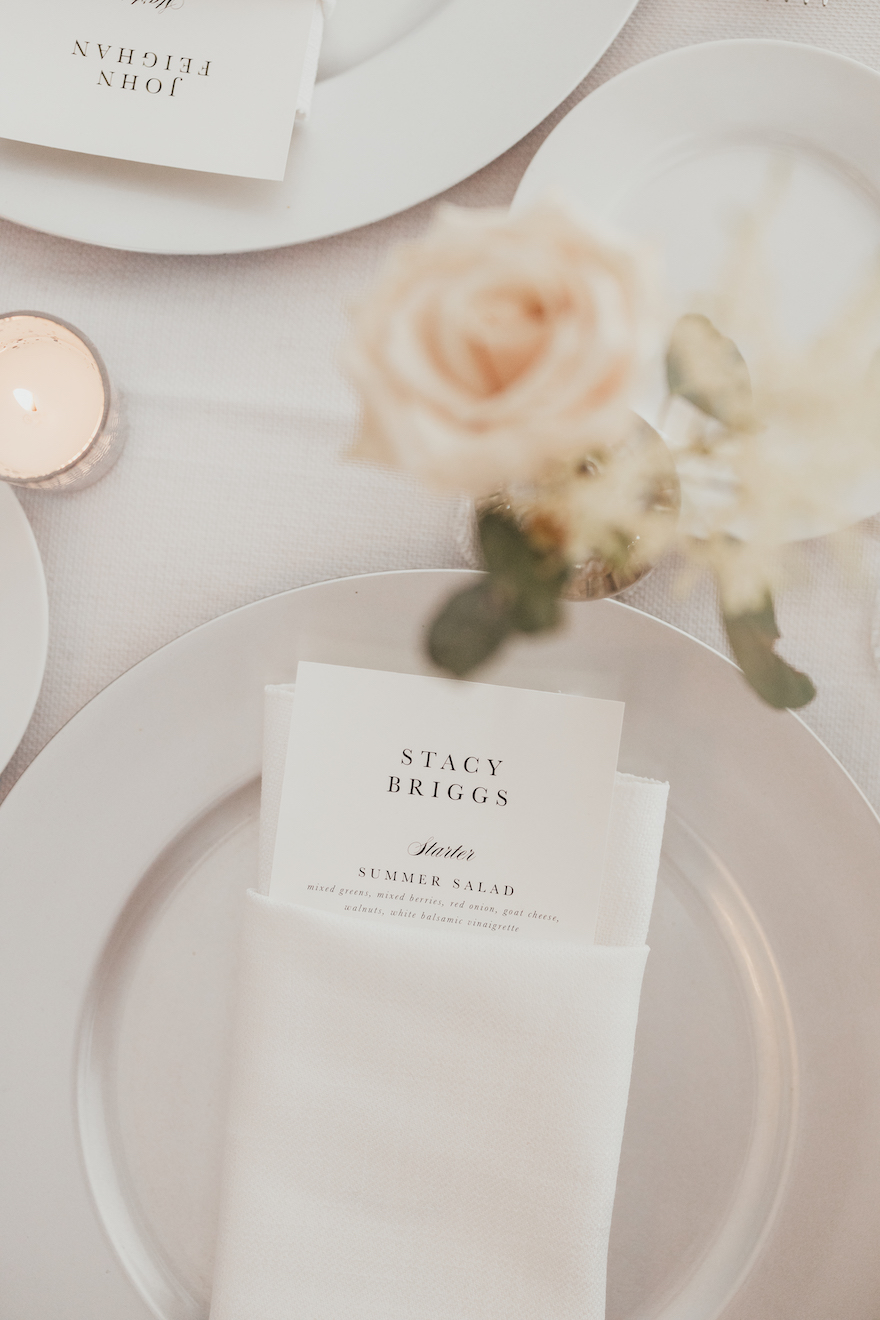 Silver place setting: Elegant and Classic Garden Wedding planned by Exhale Events. See more at exhale-events.com!