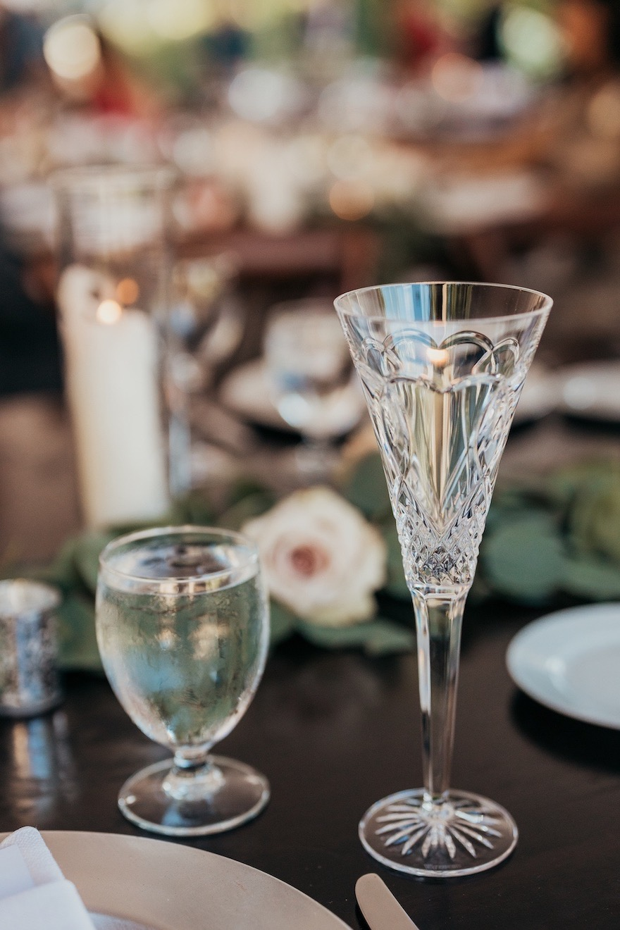 Crystal Champagne flutes for wedding day: Elegant and Classic Garden Wedding planned by Exhale Events. See more at exhale-events.com!