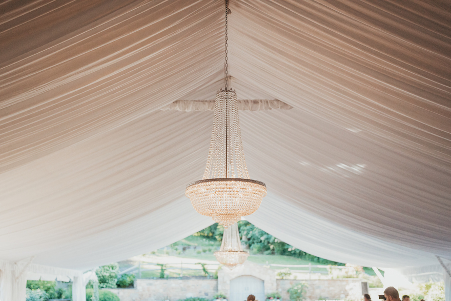 Beautiful tented chandelier: Elegant and Classic Garden Wedding planned by Exhale Events. See more at exhale-events.com!