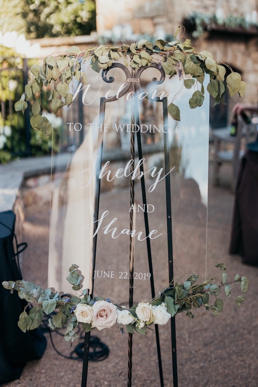 Welcome sign for outdoor wedding: Elegant and Classic Garden Wedding planned by Exhale Events. See more at exhale-events.com!