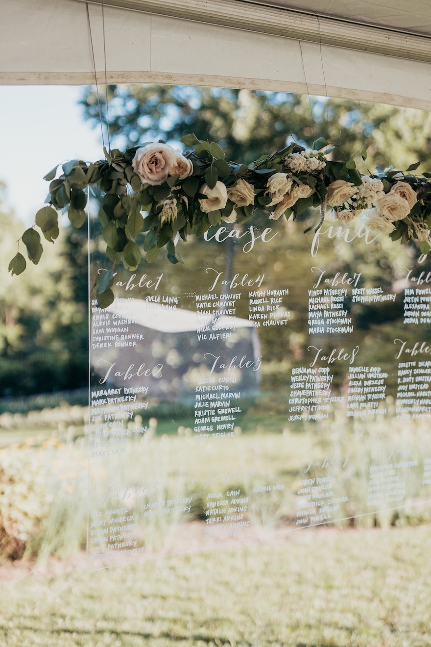Unique seating chart ideas for outdoor wedding: Elegant and Classic Garden Wedding planned by Exhale Events. See more at exhale-events.com!