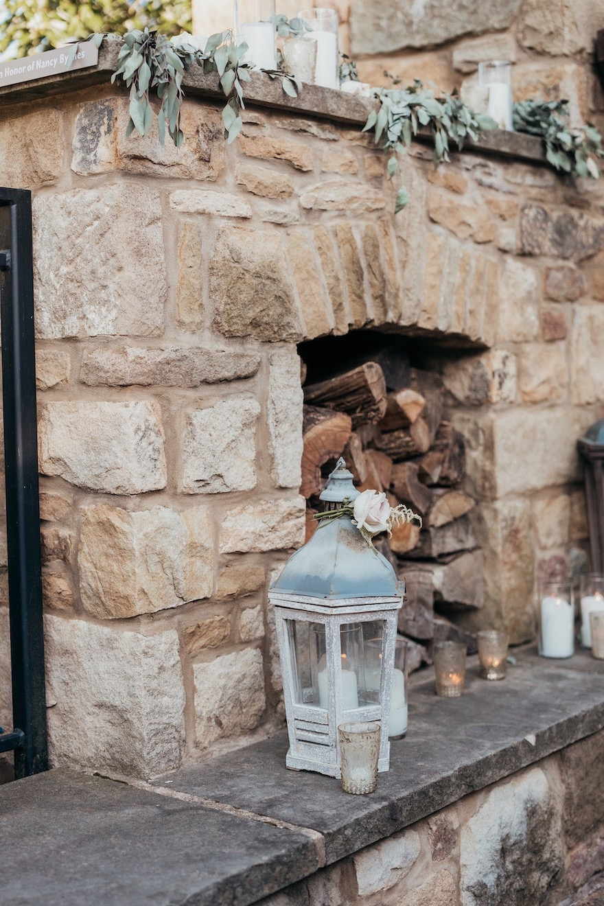 Fireplace decor for outdoor wedding: Elegant and Classic Garden Wedding planned by Exhale Events. See more at exhale-events.com!