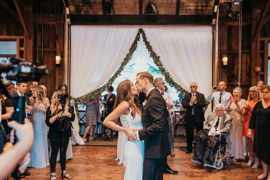 Bride and groom share first dance at the botanic gardens: Elegant and Classic Garden Wedding planned by Exhale Events. See more at exhale-events.com!