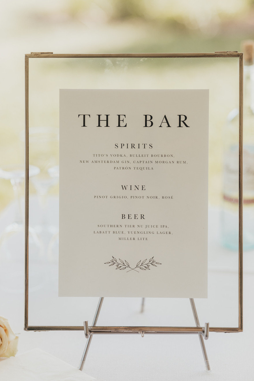 Simple and Classic Bar Sign: Elegant and Classic Garden Wedding planned by Exhale Events. See more at exhale-events.com!