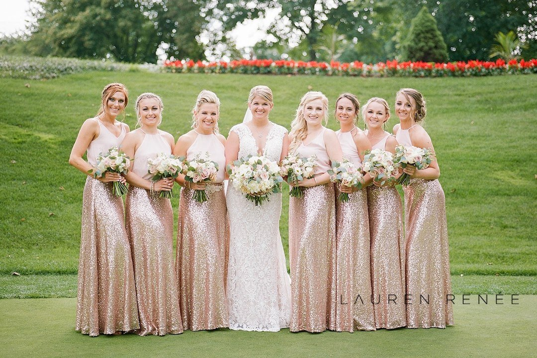 Bridal party in sequin skirts: :Romantic Blush Wedding at the Pittsburgh Field Club planned by Exhale Events. See more at exhale-events.com!