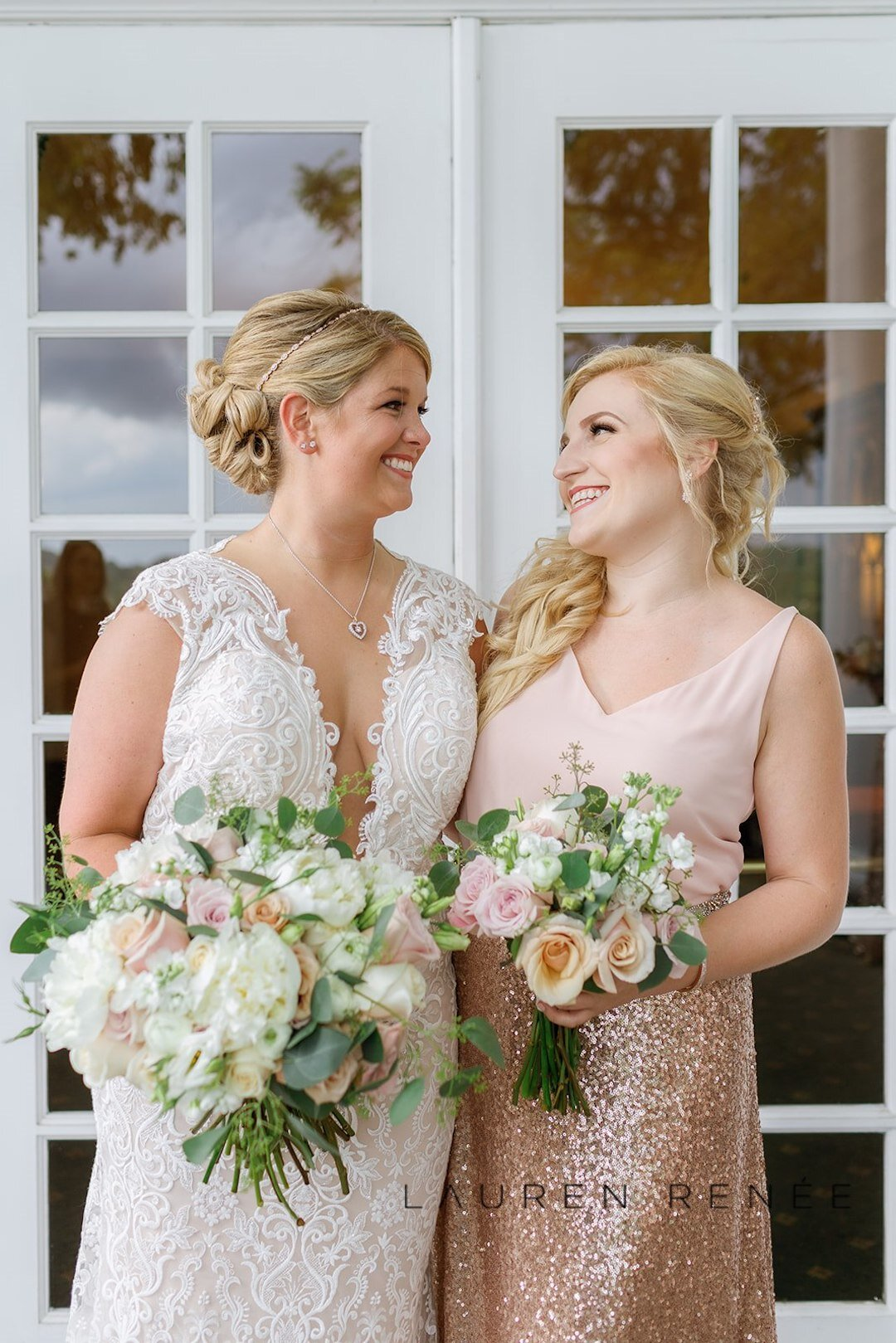 Bridesmaid photo with bride :Romantic Blush Wedding at the Pittsburgh Field Club planned by Exhale Events. See more at exhale-events.com!