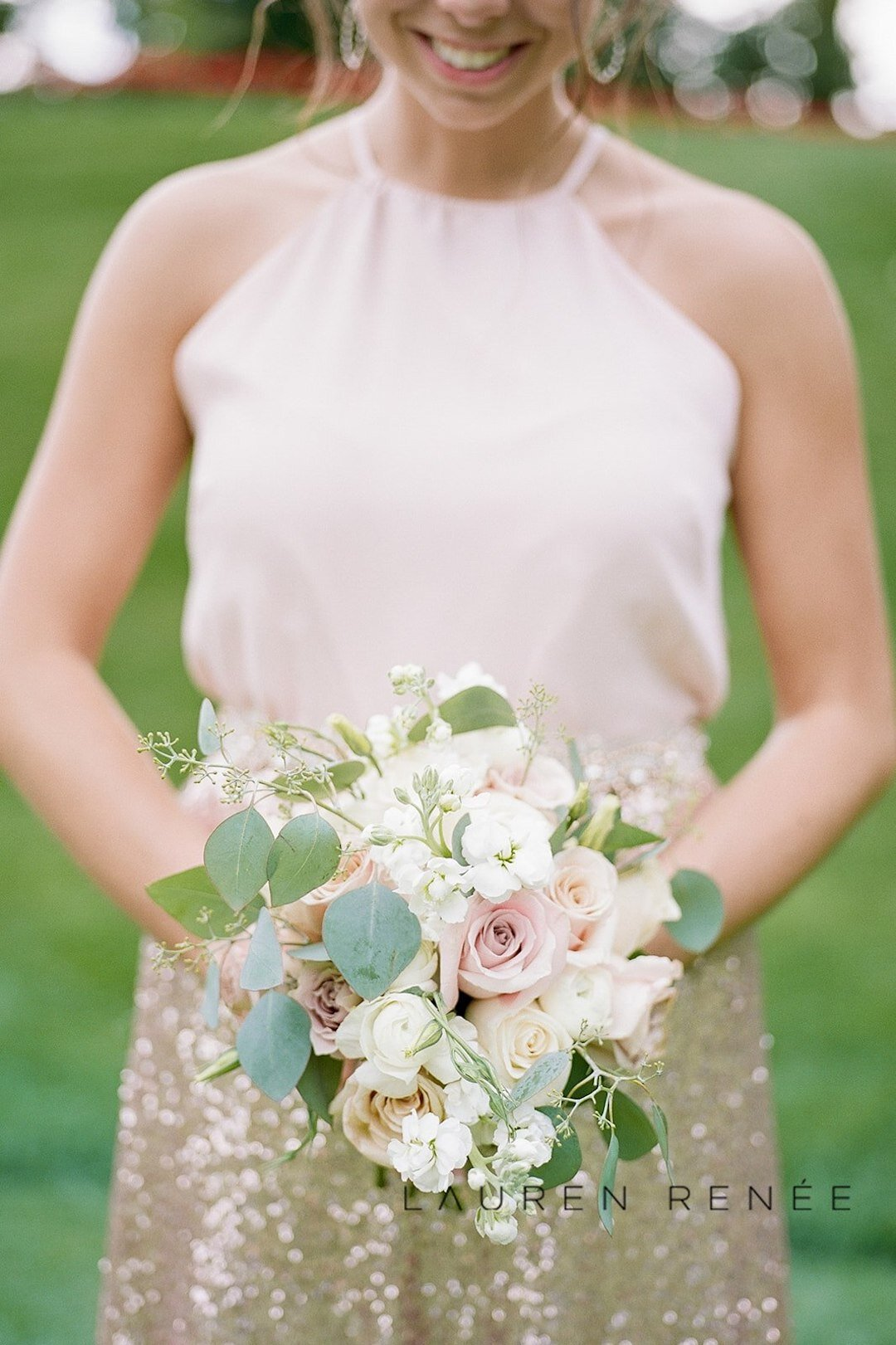 Beautiful pink bridesmaid bouquets:Romantic Blush Wedding at the Pittsburgh Field Club planned by Exhale Events. See more at exhale-events.com!