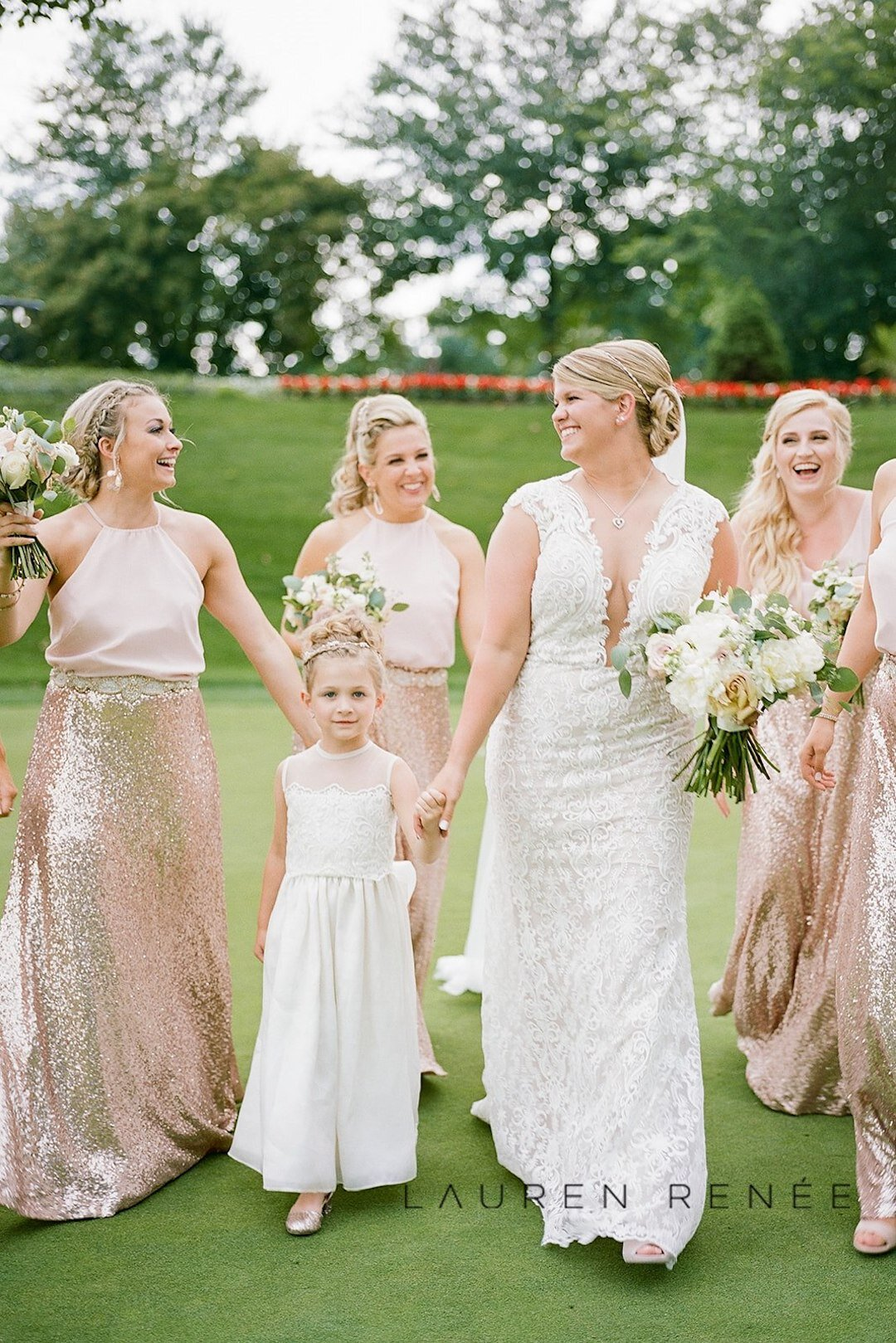 Blush pink sparkly bridesmaid dresses : Romantic Blush Wedding at the Pittsburgh Field Club planned by Exhale Events. See more at exhale-events.com!