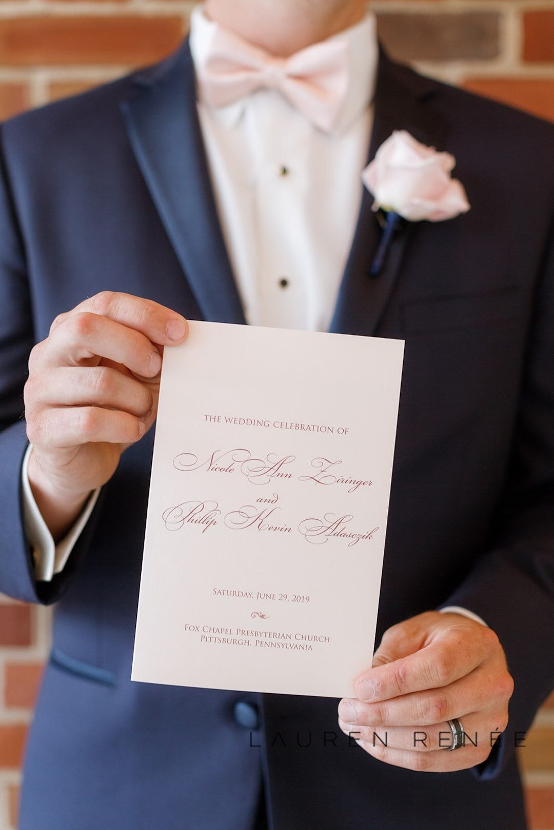 Clean and classic wedding programs: Romantic Blush Wedding at the Pittsburgh Field Club planned by Exhale Events. See more at exhale-events.com!
