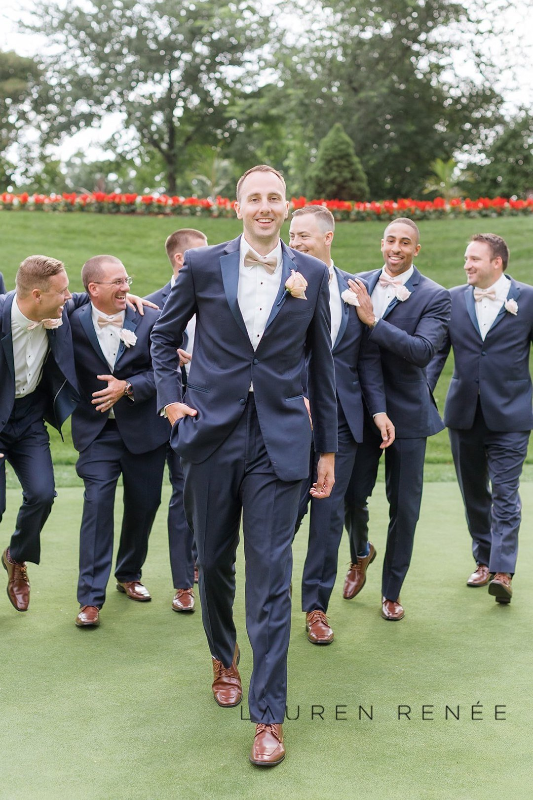 Groomsmen in navy blue tux: Romantic Blush Wedding at the Pittsburgh Field Club planned by Exhale Events. See more at exhale-events.com!