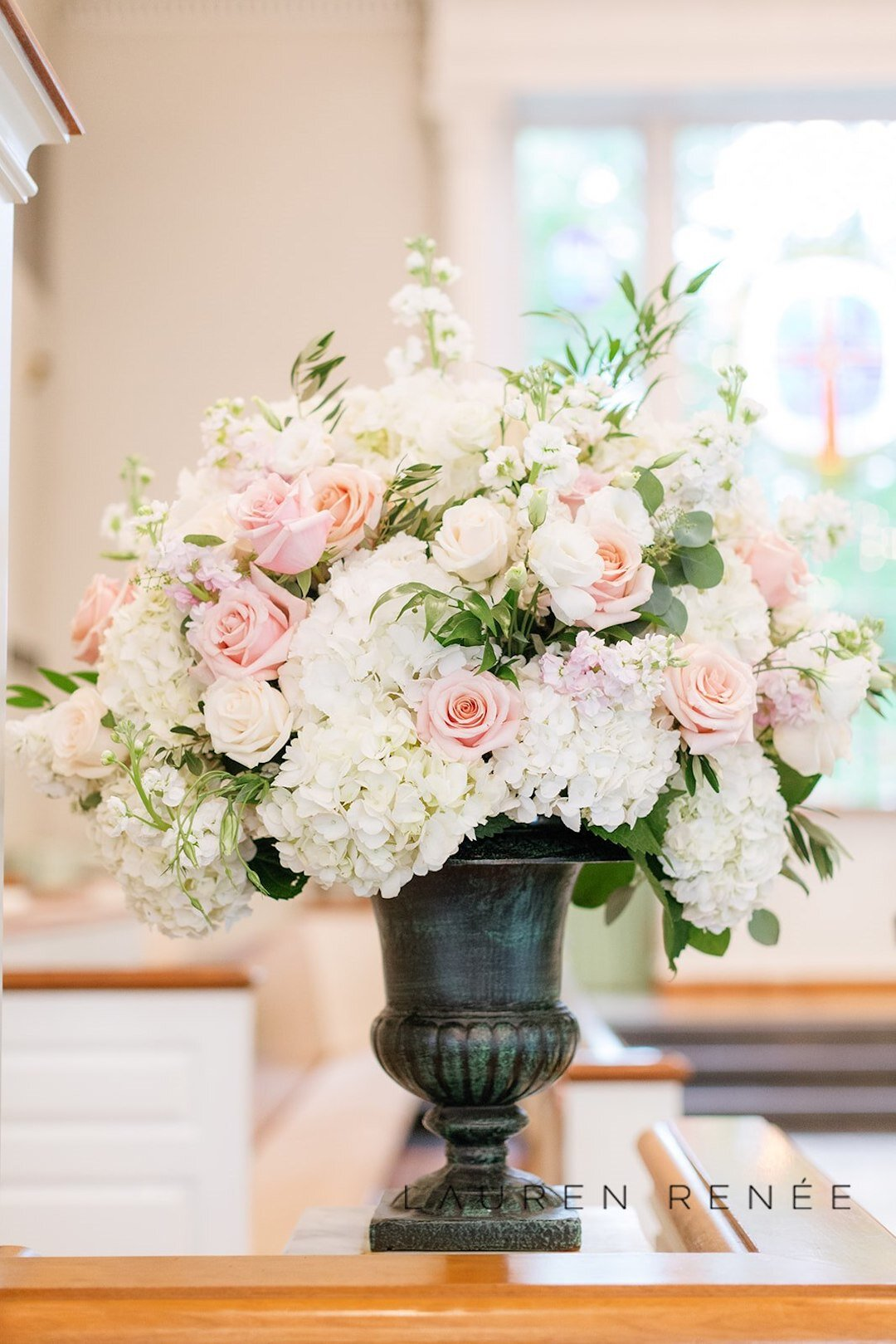 White and pink ceremony flowers: Romantic Blush Wedding at the Pittsburgh Field Club planned by Exhale Events. See more at exhale-events.com!