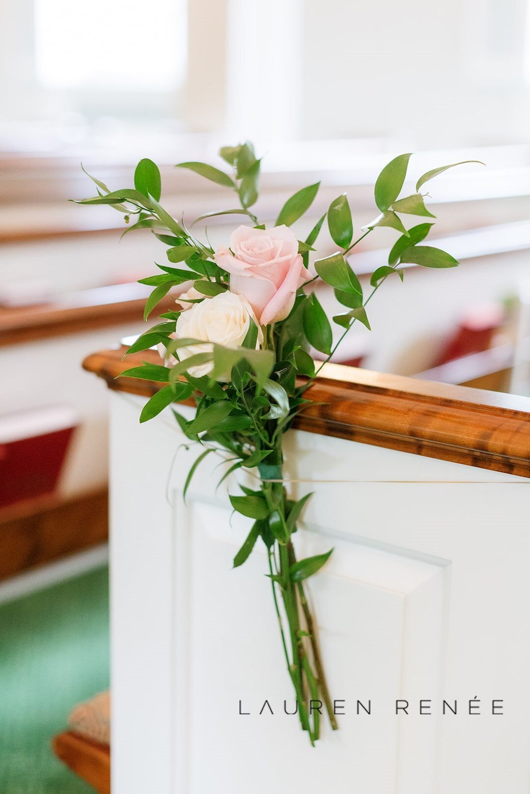 Simple pew bows for church ceremony: : Romantic Blush Wedding at the Pittsburgh Field Club planned by Exhale Events. See more at exhale-events.com!