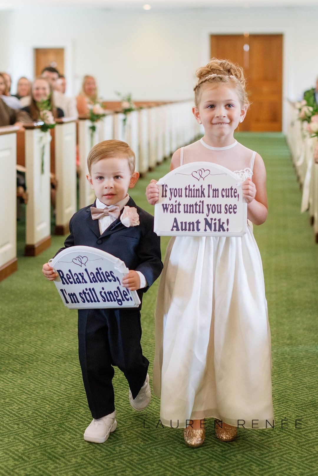 Adorable flowergirl and ring bearer idea: Romantic Blush Wedding at the Pittsburgh Field Club planned by Exhale Events. See more at exhale-events.com!