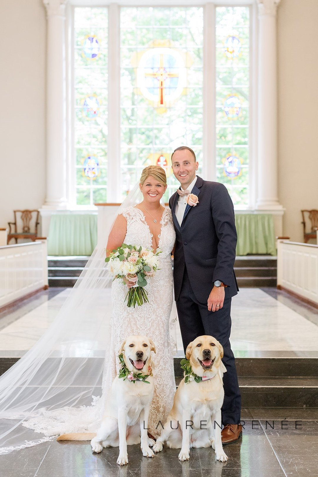 Wedding photo with bride, groom and dogs: Romantic Blush Wedding at the Pittsburgh Field Club planned by Exhale Events. See more at exhale-events.com!