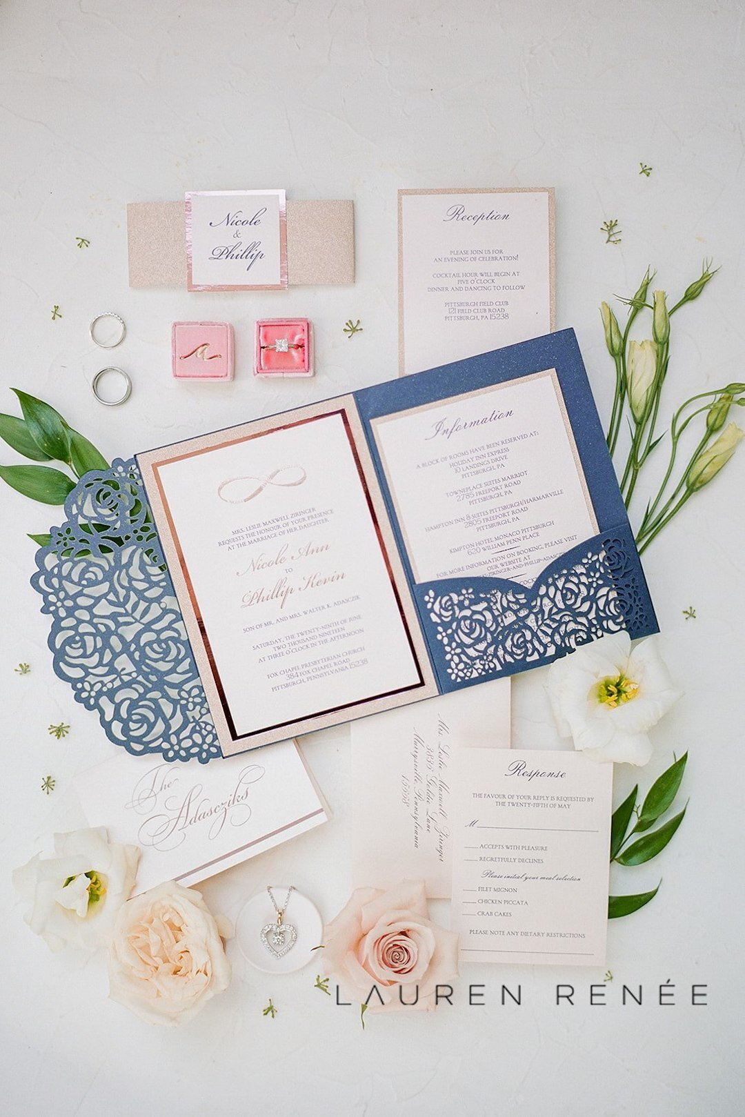 Navy and pink wedding invitations: Romantic Blush Wedding at the Pittsburgh Field Club planned by Exhale Events. See more at exhale-events.com!
