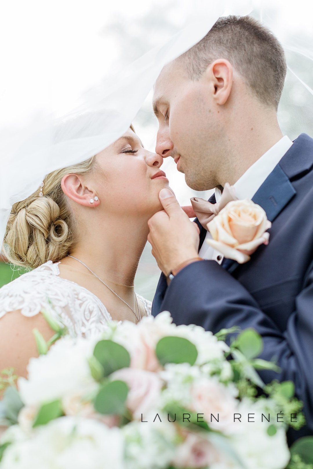 Romantic wedding photo of bride and groom: Romantic Blush Wedding at the Pittsburgh Field Club planned by Exhale Events. See more at exhale-events.com!