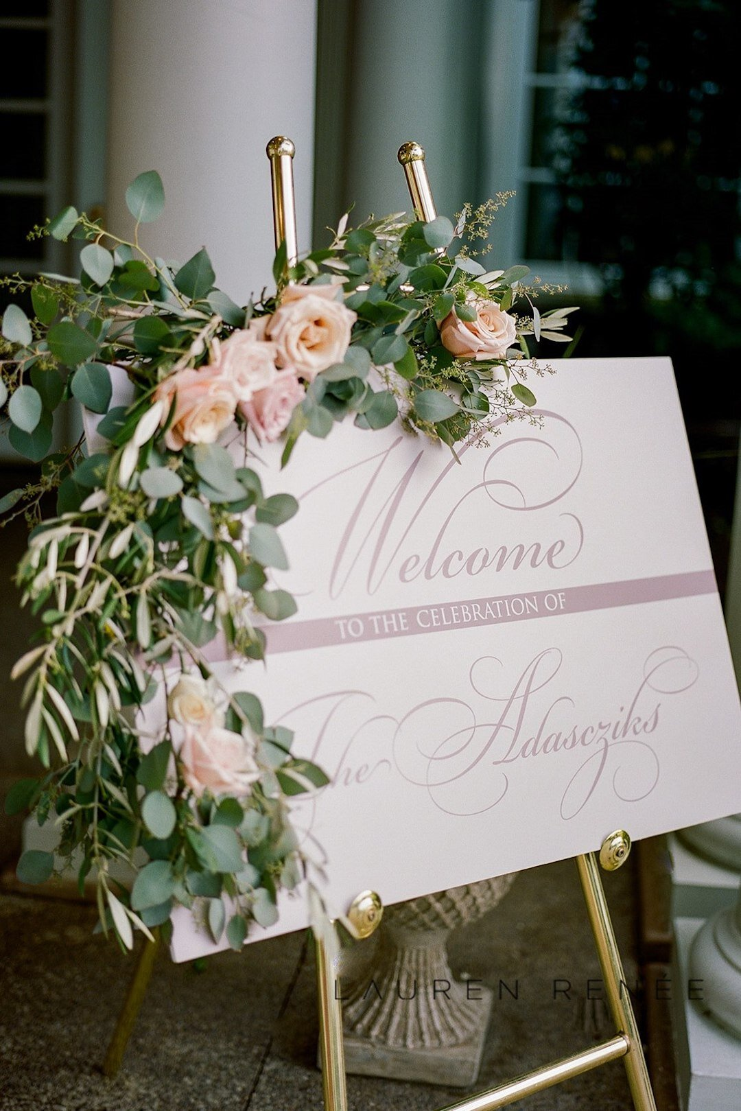 Custom floral welcome sign: Romantic Blush Wedding at the Pittsburgh Field Club planned by Exhale Events. See more at exhale-events.com!
