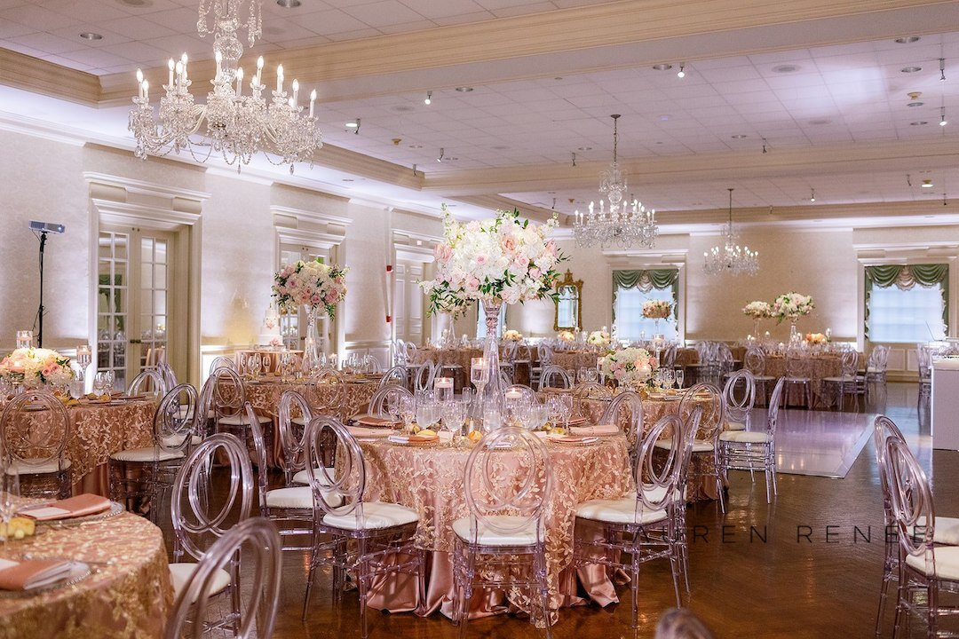 Blush Inspired Ballroom: Romantic Blush Wedding at the Pittsburgh Field Club planned by Exhale Events. See more at exhale-events.com!