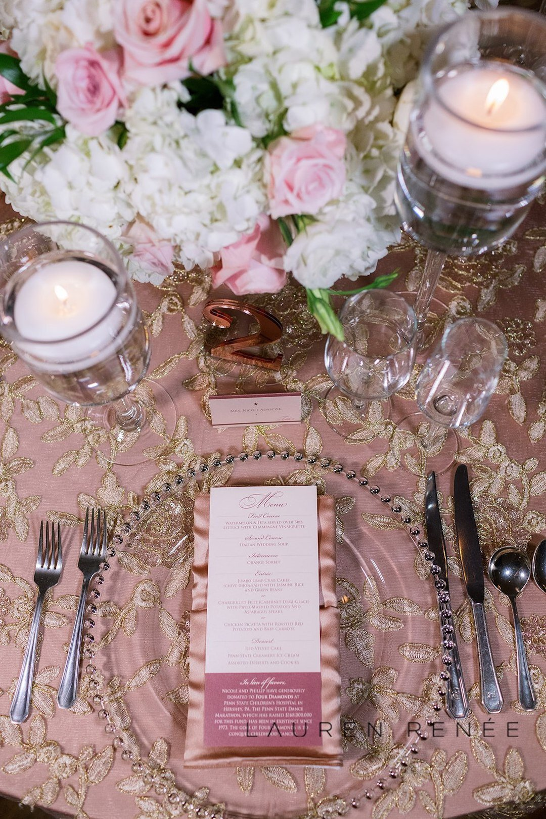 Blush wedding place setting: Romantic Blush Wedding at the Pittsburgh Field Club planned by Exhale Events. See more at exhale-events.com!