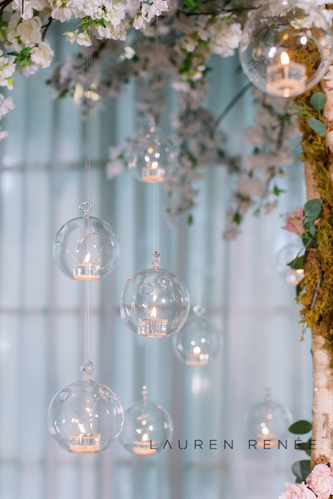 Candlelight hanging from trees at wedding: Romantic Blush Wedding at the Pittsburgh Field Club planned by Exhale Events. See more at exhale-events.com!
