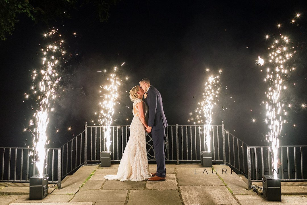 Fireworks exit from wedding: Romantic Blush Wedding at the Pittsburgh Field Club planned by Exhale Events. See more at exhale-events.com!