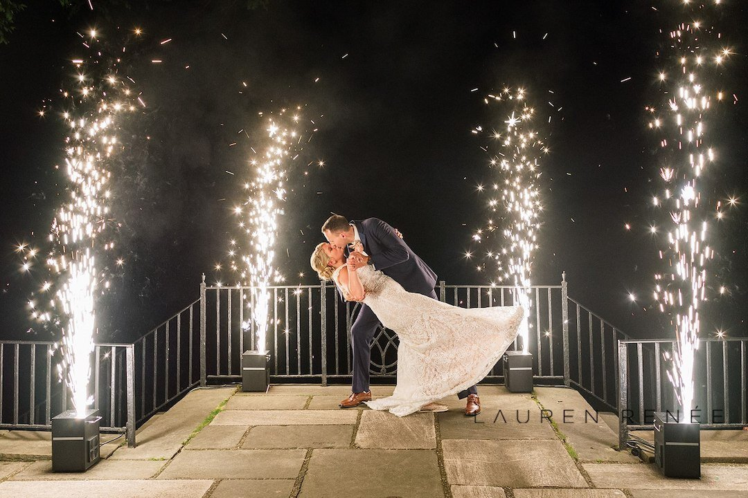 No heat fireworks for wedding photos: Romantic Blush Wedding at the Pittsburgh Field Club planned by Exhale Events. See more at exhale-events.com!