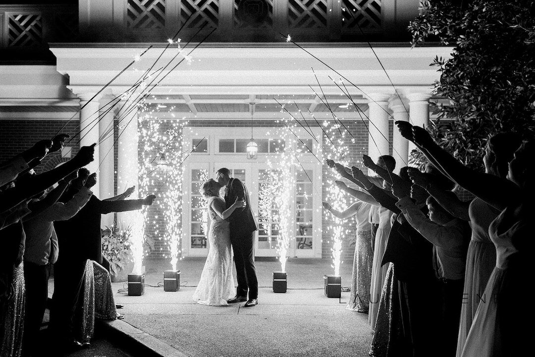 Sparkler exit: Romantic Blush Wedding at the Pittsburgh Field Club planned by Exhale Events. See more at exhale-events.com!
