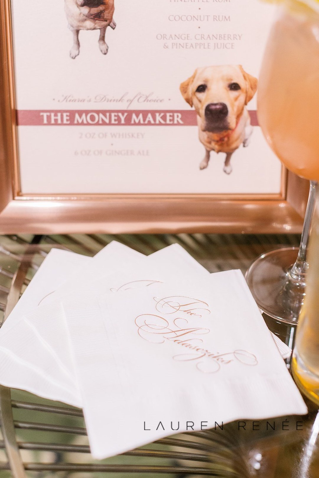 Custom wedding napkins: Romantic Blush Wedding at the Pittsburgh Field Club planned by Exhale Events. See more at exhale-events.com!
