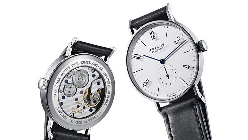 "NOMOS GLASHÜTTE - The Tangente has now become a design icon. To mark the occasion of its anniversary designers were called upon to create their own version of this high-end watch. The picture shows my own design ""Silberblick"" …Photo: Nomos Glashütte"