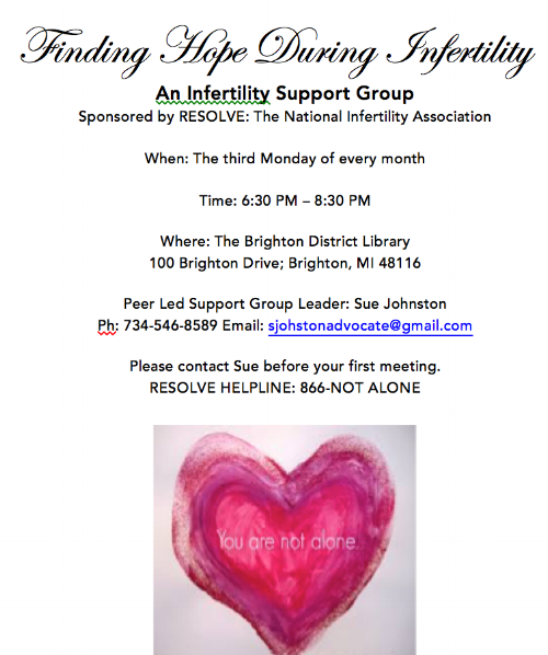 This is the flier I distributed to doctor's offices and hung in public places to announce the start of my RESOLVE Peer Led Support Group.