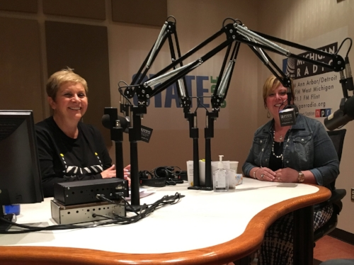 This is a photo of Cynthia Canty and me on NPR's Stateside radio show during National Infertility Awareness Week (NIAW) in April 2017.