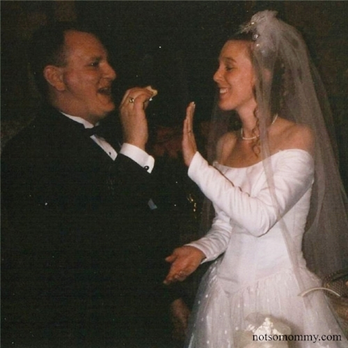 Even though he promised not to, I wasn't sure my ornery husband wouldn't smash cake in my face!    Dec. 10, 2000