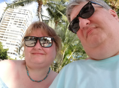 Graham and I on our honeymoon in Oahu.