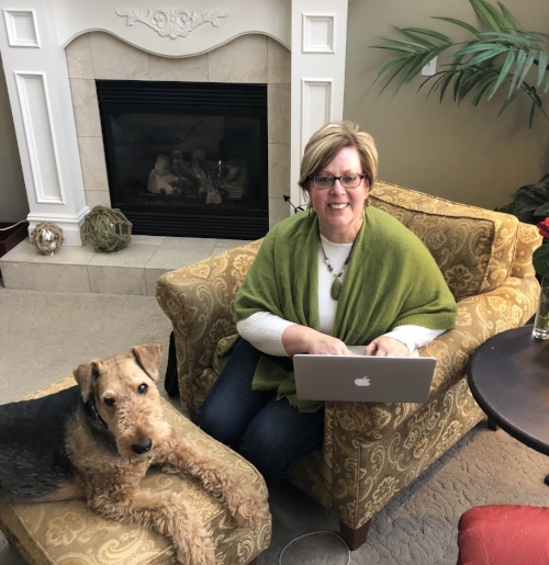 My beloved Airedale Terrier, Griff, loves to help me when I blog!