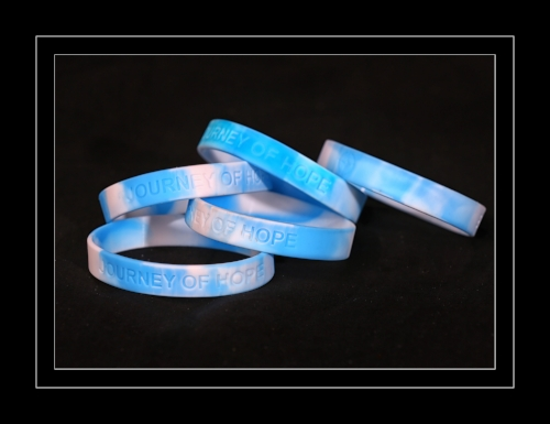 Pictured here are my JOURNEY OF HOPE wristbands, which are available for $2. They make a great gift for those in your support group as well as the loved ones of those who are struggling. All net proceeds will be donated to RESOLVE.Show your support and order a dozen or more today!