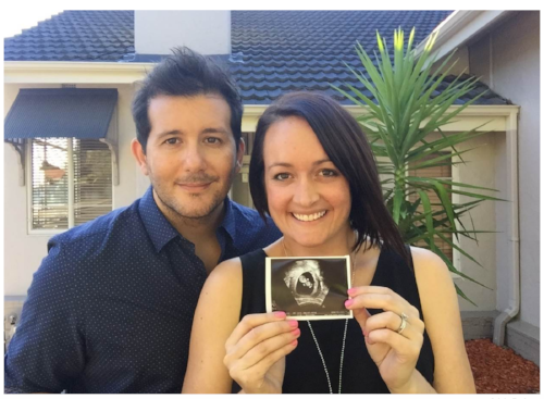 Adele Barbaro and her husband, Paul, with an ultrasound photo of their son, Harvey.