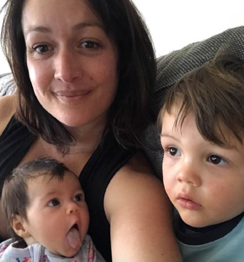 Adele Barbaro and her children, Harvey, 2, and Chloe, 4 months.