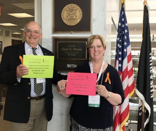 My husband and I eagerly awaiting our meeting in front of Senator Gary Peter's office.