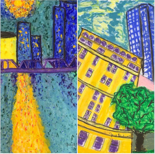 """Janet Blackwell' s oil pastel paintings of """"Grand and Grander."""" If it weren't for Janet, I wouldn't be in ArtPrize 2018."""